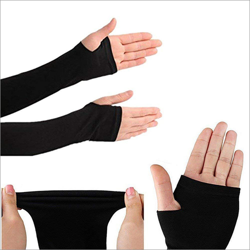 Black Arm Sleeve with Thumb Hole - 1 Pair