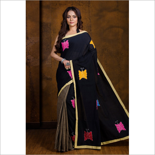 Designer Boutique Embroidery Black Saree