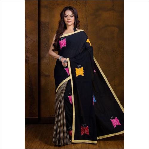 Designer Boutique Embroidery Black Saree