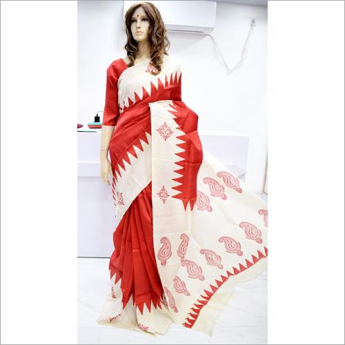 Ladies Red Silk Saree