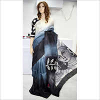 Grey Printed Silk Saree