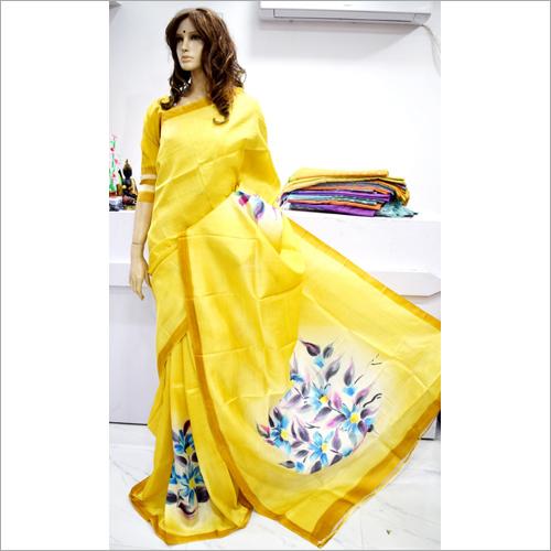 Ladies Silk Yellow Saree