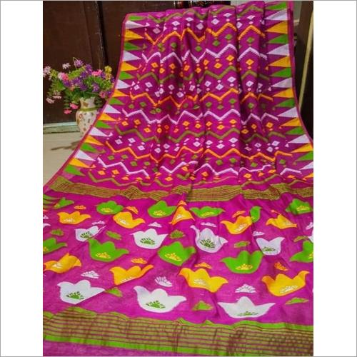 Ladies Pink Embroidery Silk Saree