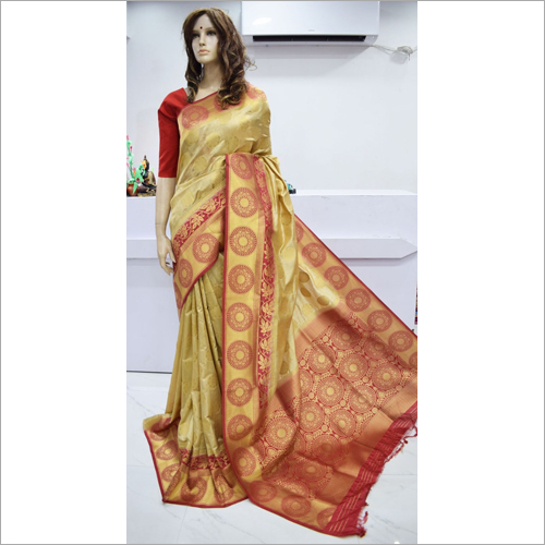 Ladies Printed Tussar Saree