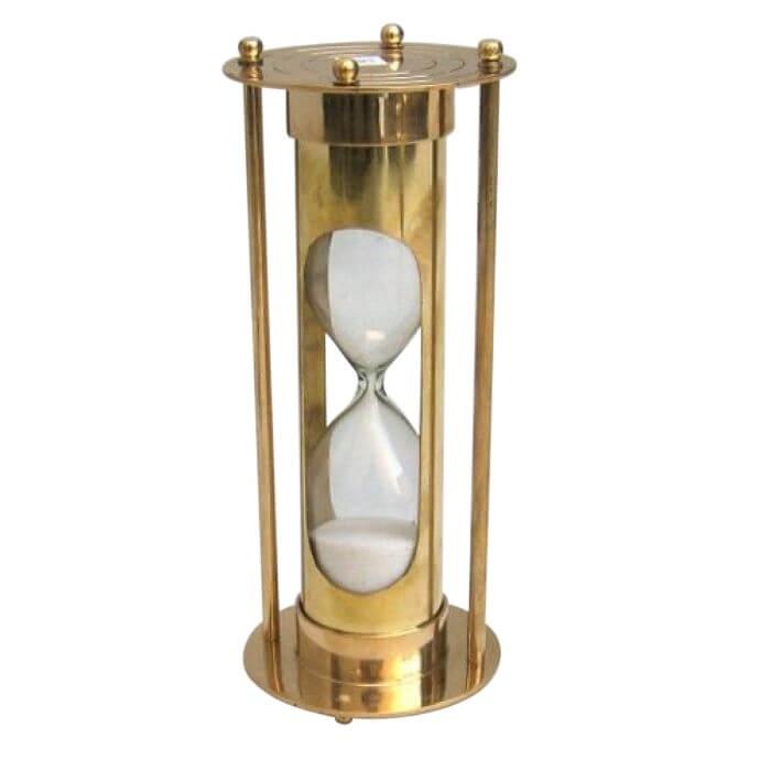Brass Sand Timer 5 Min. White Sand