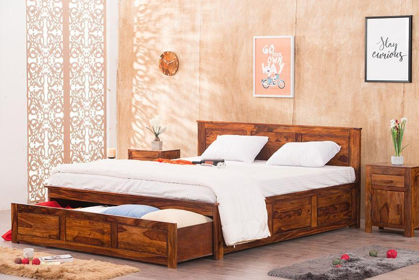 Solid Wood Bed With Front Open Storage
