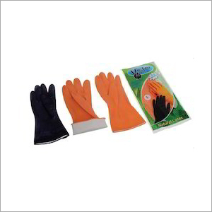 Victor Plus House Hold Flock Lined Rubber Hand Gloves
