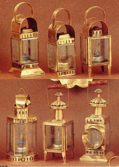 Cabin Lantern Brass / Glass Oil Lamp Set