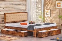 Solid Wooden Bed Glorian Triple Trolley