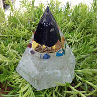 Orgone Black Tourmaline With Selenite Conical Pyramid