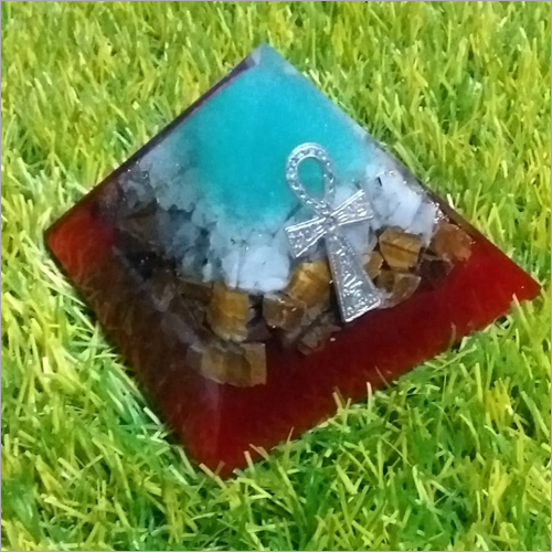 Orgone White Moon Stone With Tiger Pyramid