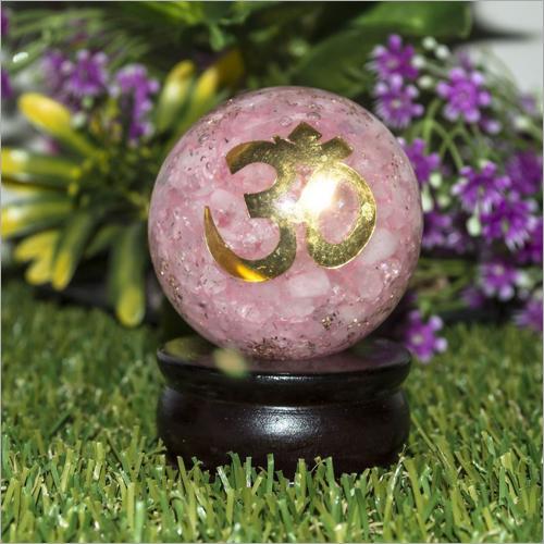 Orgone Rose Quartz With Om Logo Ball