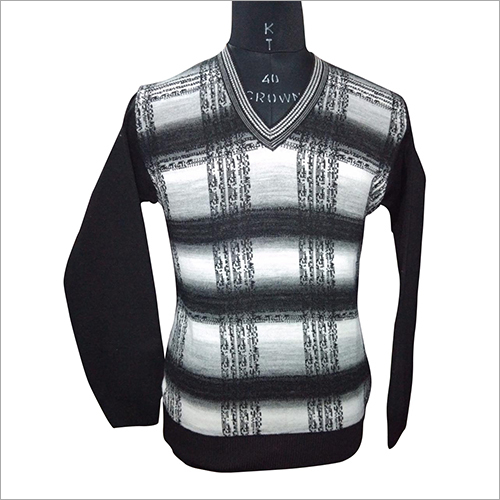 Mens V Neck Knitted Pullover