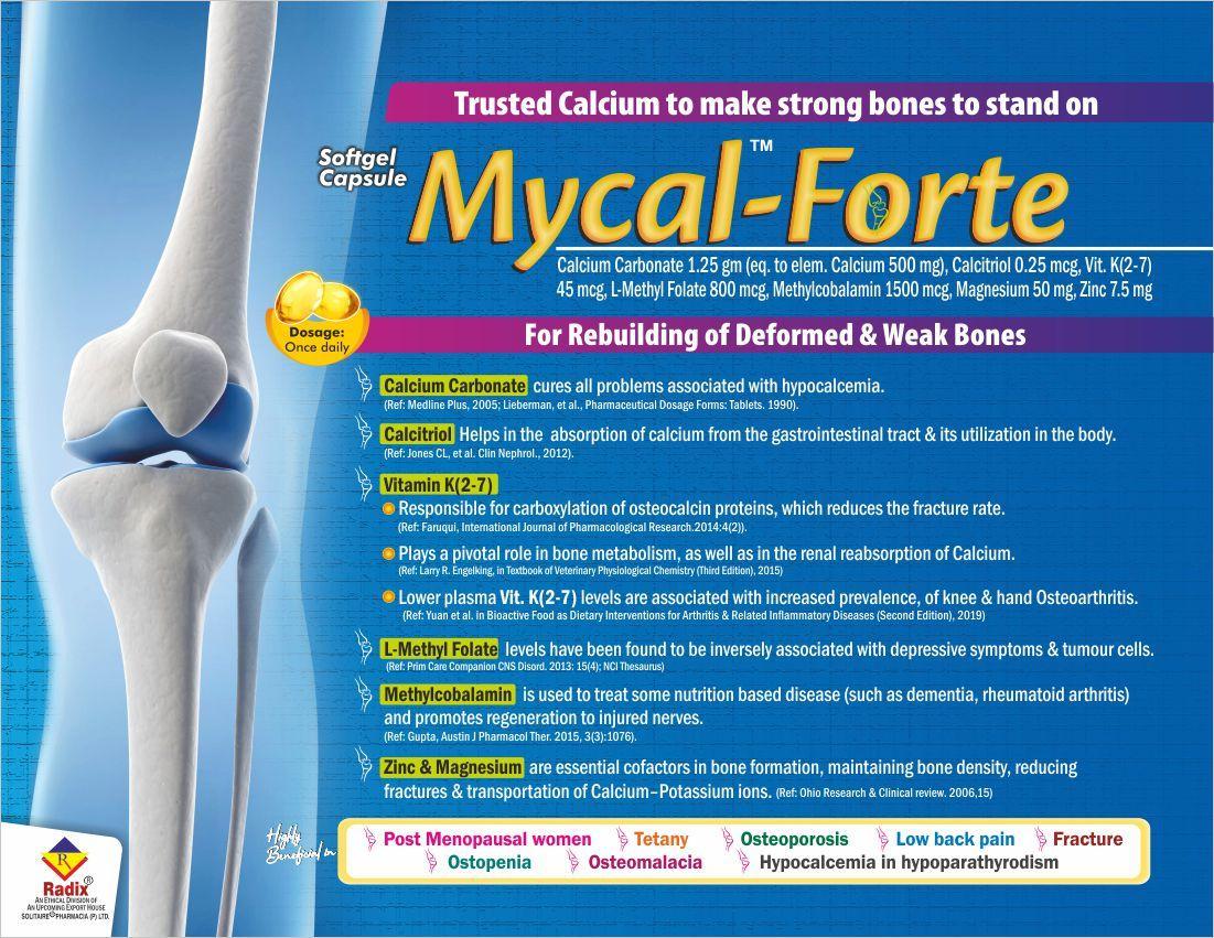 Calcium Carbonate 1.25 gm eq. to elem. Cal. 500 mg, Calcitriol 0.25 mcg, Vitamin K(2-7) 45 mcg, L-MethylFolate 800 mcg, Methylcobalamin 1500 mcg, Magnesium 50 mg, Zinc 7.5 mg