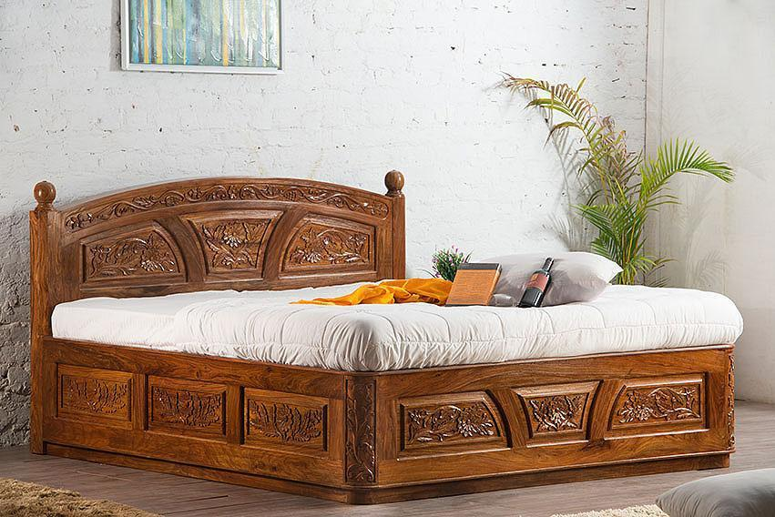 Solid Wood Bed Carving Star