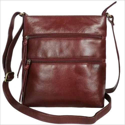Genuine Leather Triple Zipper Sling Crossbody Bag for Women