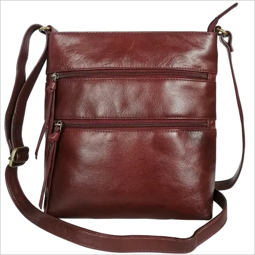 Women Leather Triple Zipper Sling Crossbody Shoulder Bag