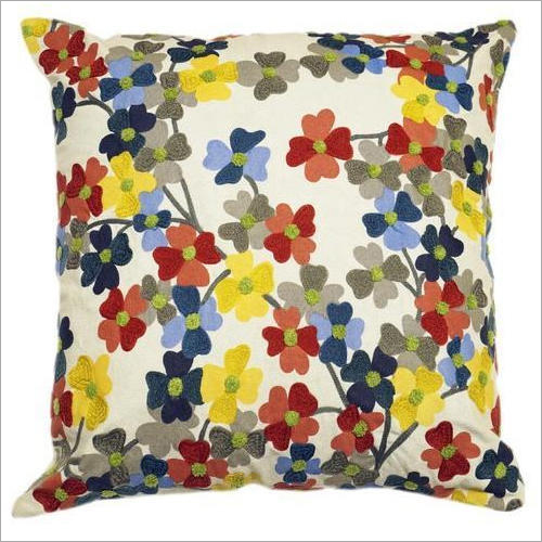 Floral Embroidered Cushion Cover