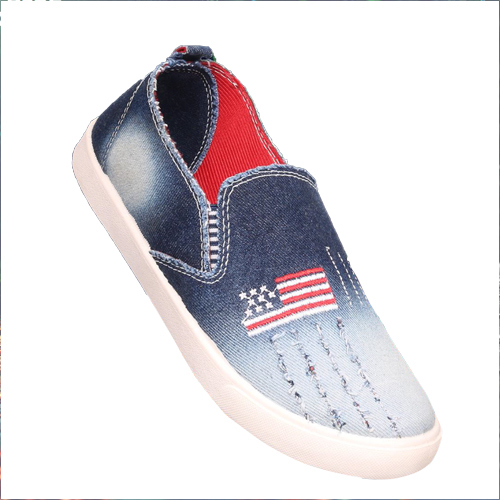 Girls Blue Canvas Loafer