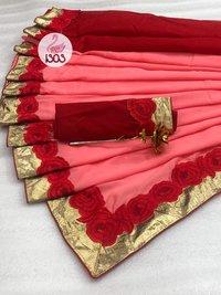 Bridal Silk Embroidery Saree