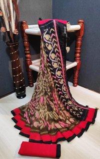 Ladies Printed Linen Silk Saree