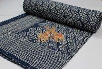 Block Printed Kantha Bedcover