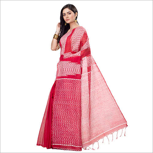 Ladies Red Blended Cotton Saree