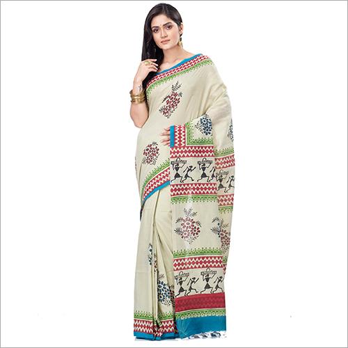 Ladies Soft Cotton Block Pint Saree