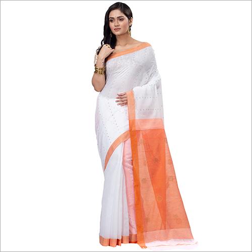 Ladies Handwork Blended Cotton Saree