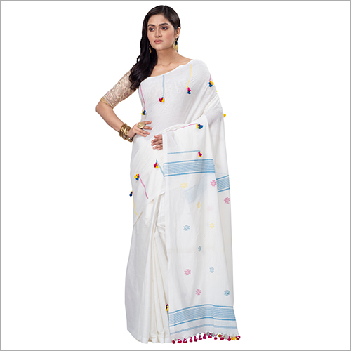 Ladies White Pompom Cotton Saree