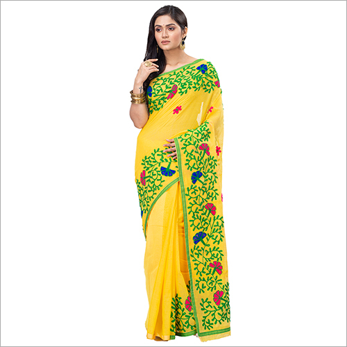 Ladies Yellow Blended Cotton Saree