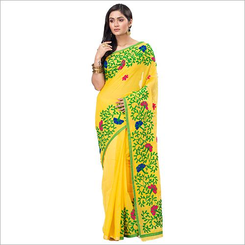 Ladies Yellow Blended Cotton Saree