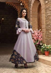 Rayon Long Anarkali Gown