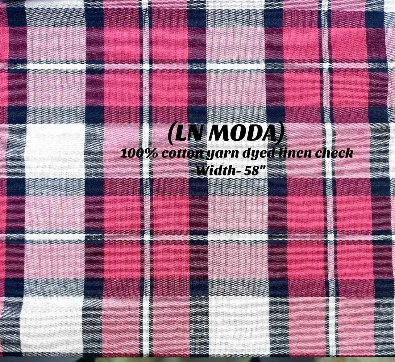 LN MODA 100% cotton yarn dyed linen check