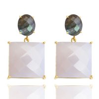 925 Sterling Silver Milky Chalcedony & Labradorite Awesome Earring