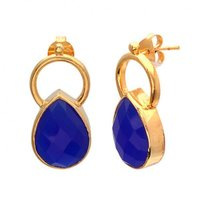 Beautiful Pear Grey Chalcedony Gold Plated Handmade Silver Earring