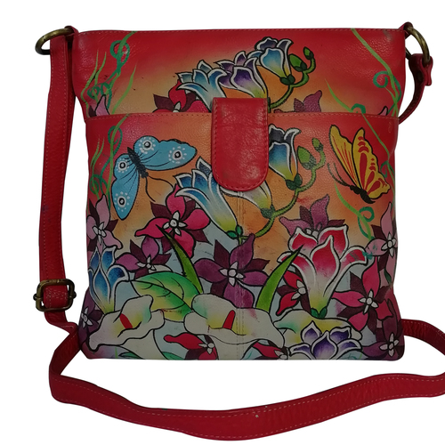 New Leather Hand Painted Sling Crossbody Shoulder Bag