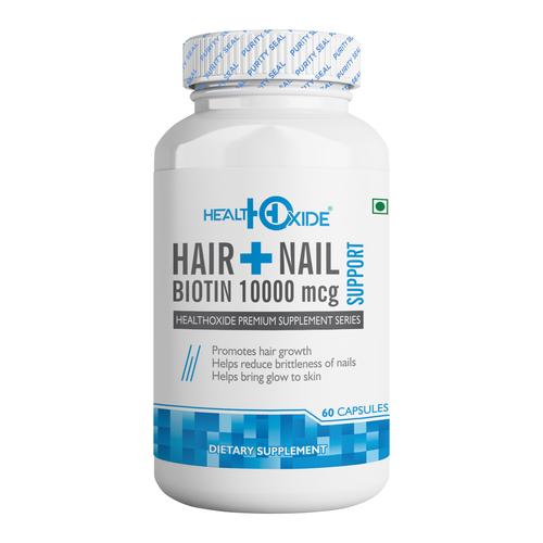 HealthOxide Biotin 10000 mcg Supports Healthy Hair Skin and Nail – 60 Veg Capsules