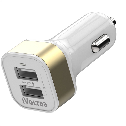 3.4A White Dual Port Car Charger