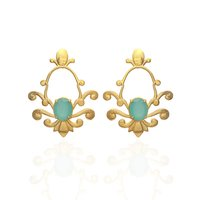 925 Sterling Silver Aqua Chalcedony Gemstone Gold Plated Earring