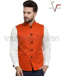Men Solid Ethnic Wear Orange Nehru Jacket