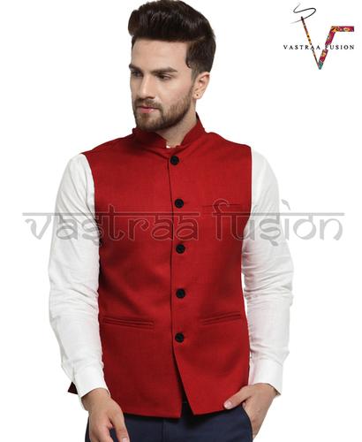 Men Plain Festive Wear Nehru Jacket - Red Colour
