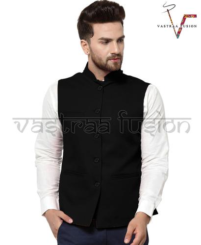 Men Solid Casual Wear Nehru Jacket - Black Colour