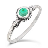 Natural Melachite 925 Silver Ring