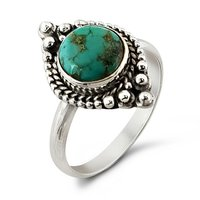 Natural Turquoise Gemstone Indian Handmade Jewelry 925 Silver Ring