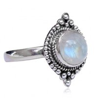 Natural Rainbow Moonstone 925 Silver Ring