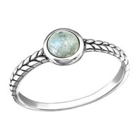 Natural Rainbow Moonstone Ring Indian Sterling Silver Jewelry 925 Silver Ring