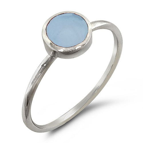 Natural Blue Shell 925 Silver Ring