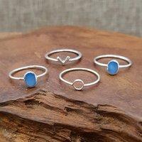 Natural Blue Shell 925 Silver Ring