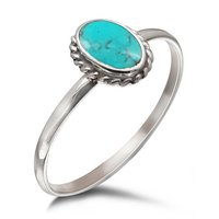 Natural Turquoise Oval Shape Gemstone Indian Handmade Sterling Silver Jewelry 925 Silver Ring